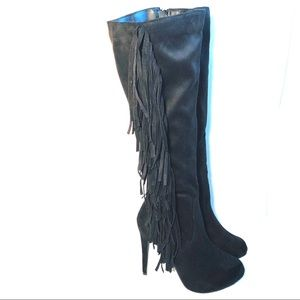 Breckelle's Black Faux Suede Fringed Boots